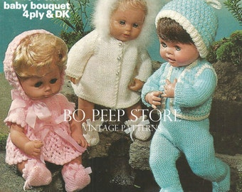 Marriner 1627 Dolls Clothes knitting pattern for 12ins to 18ins Doll [DOWNLOAD]