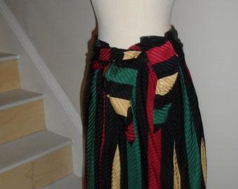 vollbrachi silk striped signed skirt  great colors amazing piece vintage designer gem michaele vollbrachi signed material