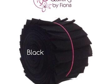 """20 x 2.5"""" Black PreCut Jelly Roll Fabric Strips, 2.5 inch x WOF, die cut"""
