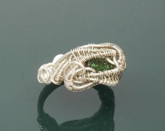 Green Tourmaline and Sterling Silver Wire Wrapped Ring