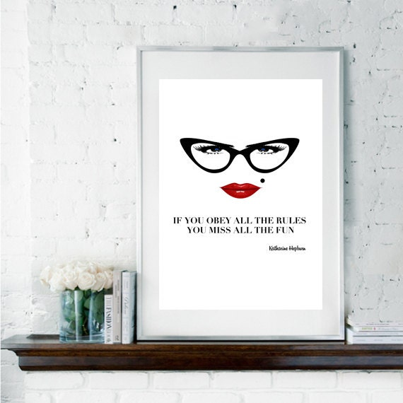 Funny Poster Gift For Her Printable Art Inspirational: Quote Print Katharine Hepburn Quote By Printdesignstudio
