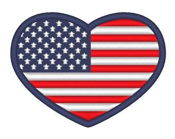 American Flag Heart I Love America Embroidery Machine Design