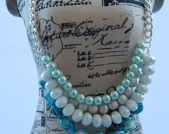 White and Blue Beaded Statement Necklace
