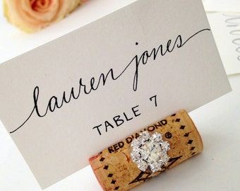 Wedding Escort Cards - Custom Hand Calligraphy - Table Numbers, Menus and Envelope Addressing Also Available