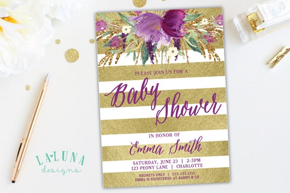 floral baby shower invitation watercolor floral invite, Baby shower invitations