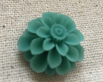 12 pcs of resin flower cabochon20mm-0031--51-turquoise green