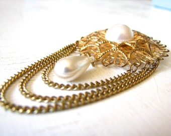 Antique Gold Tone Filigree Faux Pearl Chain Brooch