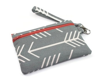 Wristlet Wallet / Cell Phone Clutch / Arrows Wristlet with Removable Strap