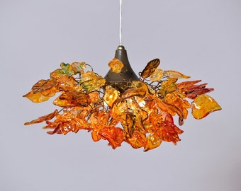 Lighting Hanging Chandeliers with flowers and leaves at shades of orange color