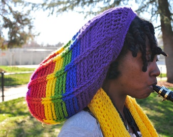Rainbow Slouchy Lock Hat ***PATTERN ONLY