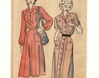 """A Long or Short Sleeve, Full Button or Shirtwaist Dress with Pocket Detail Sewing Pattern for Women: Retro Size 18 Bust 36"""" • Advance 4779"""