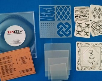 Zencils!  Set of 5 stencils for Small and Regular Zentangle® tiles