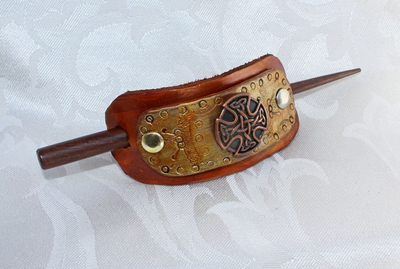 Celtic Cross Leather Hair Slide Golden Brown Vegetable Tanned Leather Hair Accessory