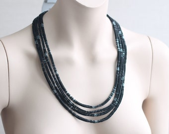 Necklace Beaded - beadwork, beadweaving, brutal, black necklace