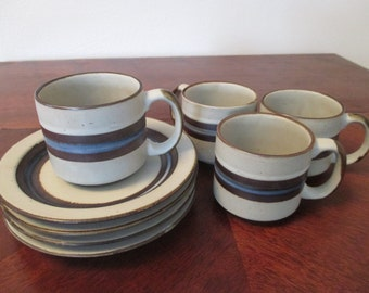 Vintage Otagiri Horizon Cups and Saucers Set of 4 Dinnerware Stoneware Made in Japan Beautiful Earth Tones