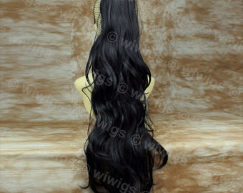 Long Black Wavy Pony Tail Clip In Hair Extension Ladies wigs