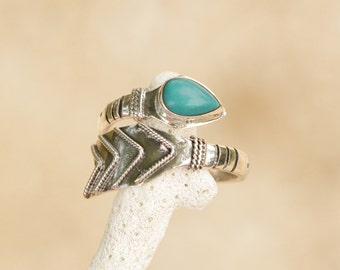 Arrow Ring, Sterling Silver Turquoise Ring, Boho Chic Sterling Silver Natural Turquoise, Adjustable Ring, Bohemain Ring