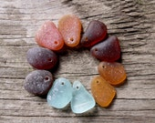 Top Drilled Sea Glass, Genuine Beach Glass, Charms, Jewelry Supplies, OOAK, Unique