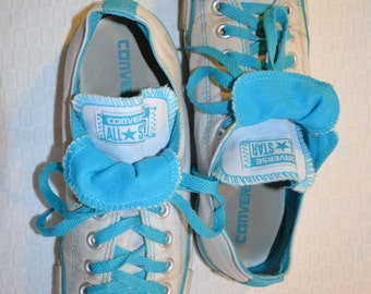 White and Turquoise Converse Low Top 'All Star' Tennis Shoes - Men's 9