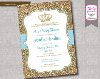Baby Shower Invitation - Prince Crown for Boy and Gold Glitter- DIY Printable - Blue