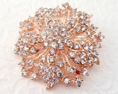 Rose Gold Rhinestone Brooch Flat Back Embellishment / Pin Clear Crystal Flower Broach Wedding Rose Gold Brooch Bouquet Sash DIY Supply  rgc1