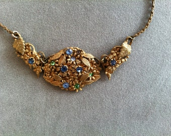 Vintage Art Nouveau Style Gold Tone Filigree Necklace with Colored Stones