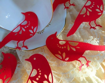 Bird Die Cuts, baby shower wedding or Christmas-table decoration 12 count