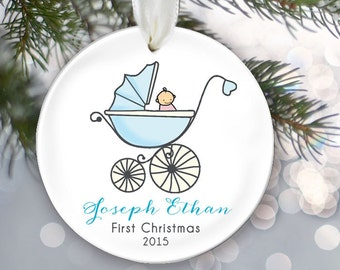 Baby's 1st Christmas Blue Baby Carriage Ornament Personalized Christmas Ornament Babys First Ornament Custom Baby boy pram gift OR220
