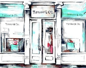 Tiffany Print from Original Watercolor Painting - Tiffany's Illustration - Lana Moes Fashion Illustration - Teal decor - Gift for Her