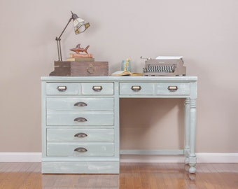 ITEM IS SOLD - Sage Coastal Cottage 4-Drawer Desk