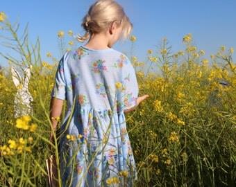 Girls Dress Flower Blue New Vintage Boho Hippie Handmade