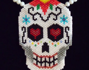 Sugar Skull Day of the Dead Beaded Necklace