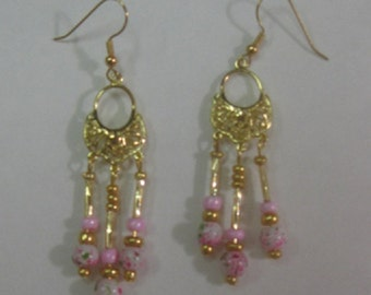 Pink Cherry Blossom Chandelier Earrings