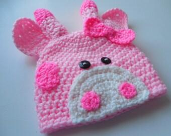 Pink Giraffe Baby Girl Beanie - 0 to 3 Months - Crochet Baby Giraffe Beanie - Handmade Crochet - Ready to Ship