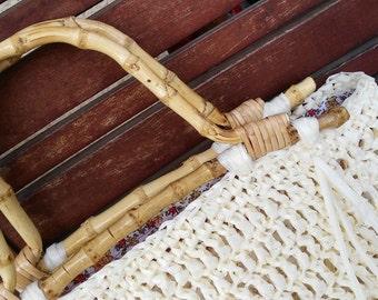 Rafia summer coral bag