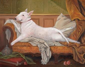 Bull Terrier Prints, Reclining Bull Terrier Odalisque, Whimsical Dog Art
