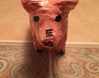 Paper Mache Painted Pig