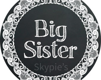 Iron on Transfer DIY - Lace Chalkboard Big sister - Sibling Shirt Iron Ons