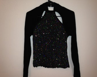 black glitter shiny dance top