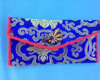 mini asian silk inspired coin purse wallet