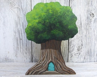 Fairy Tree House Magical Door Tooth Fairy Door Middle Earth Tree Hand Painted on Wood Art Acrylic Painting