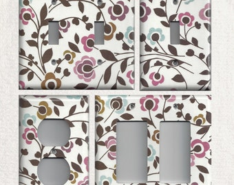 Light Switchplates and Wall Outlet Covers Plum Purple Brown & Light Blue Floral/Flowers Light Switch Cover, Light Switch Plate