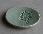 Small Green/Blue Ceramic Dish with Queen Anne's Lace Flower Imprint