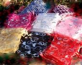"12 Heart Organza Bags 3.5"" x 4.5"" - Dozen - Choice of Colors, Black, Pink, Fuschia, White, Red, Yellow, Gift Pouch Drawstring Jewelry Bag"