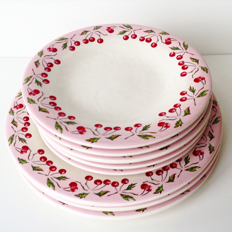 one vintage france cherry plates rare le comptoir de famille On comptoir de famille decoration