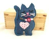 Stuffed cat plushie, cat softie, Stuffed kitten, Kitten plushie, recycled jeans cat, cat pincushion