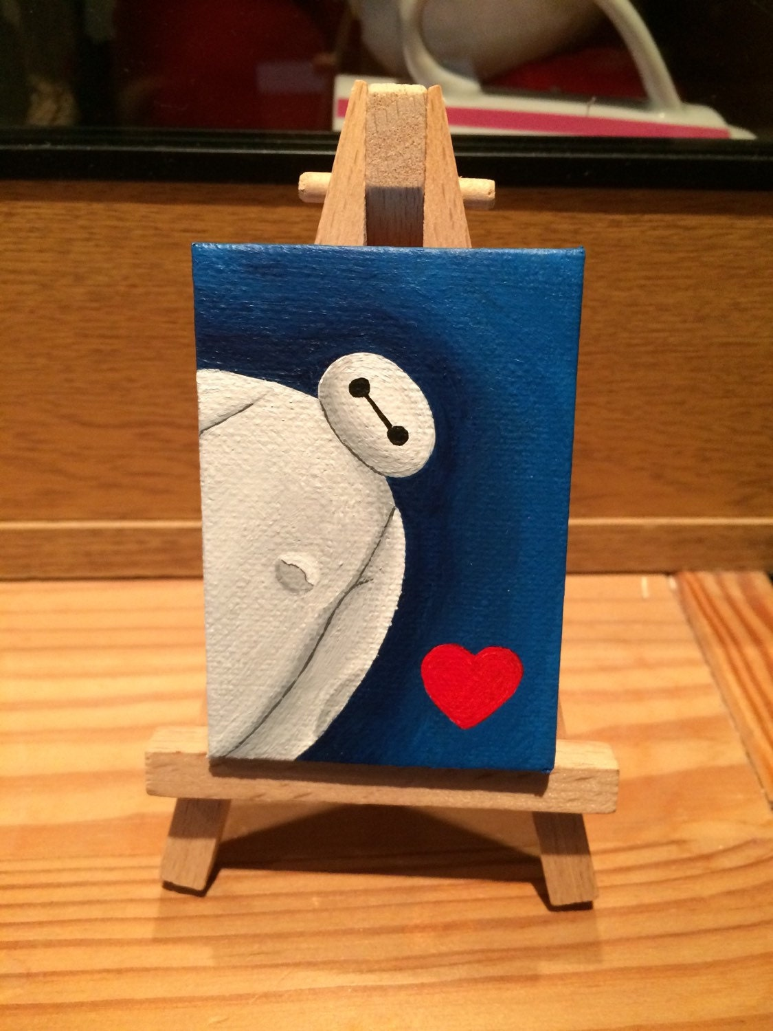Miniature baymax acrylic painting on easel from big hero 6 for Things to do with mini canvases
