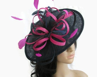 Navy Blue & Pink Fascinator.. Sinamay Shaped disc Fascinator with double swirls , loops..wedding,races
