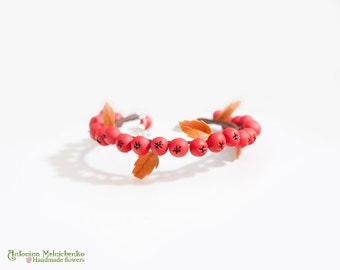 Bracelet Rowan Berries - Polymer Clay Flowers