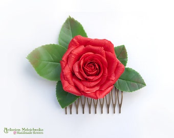Hair comb Red Rose - Polymer Clay Flowers - Wedding Accessories - Wedding Hair Comb - Bridal Hair Comb - Bridal Hair Piece